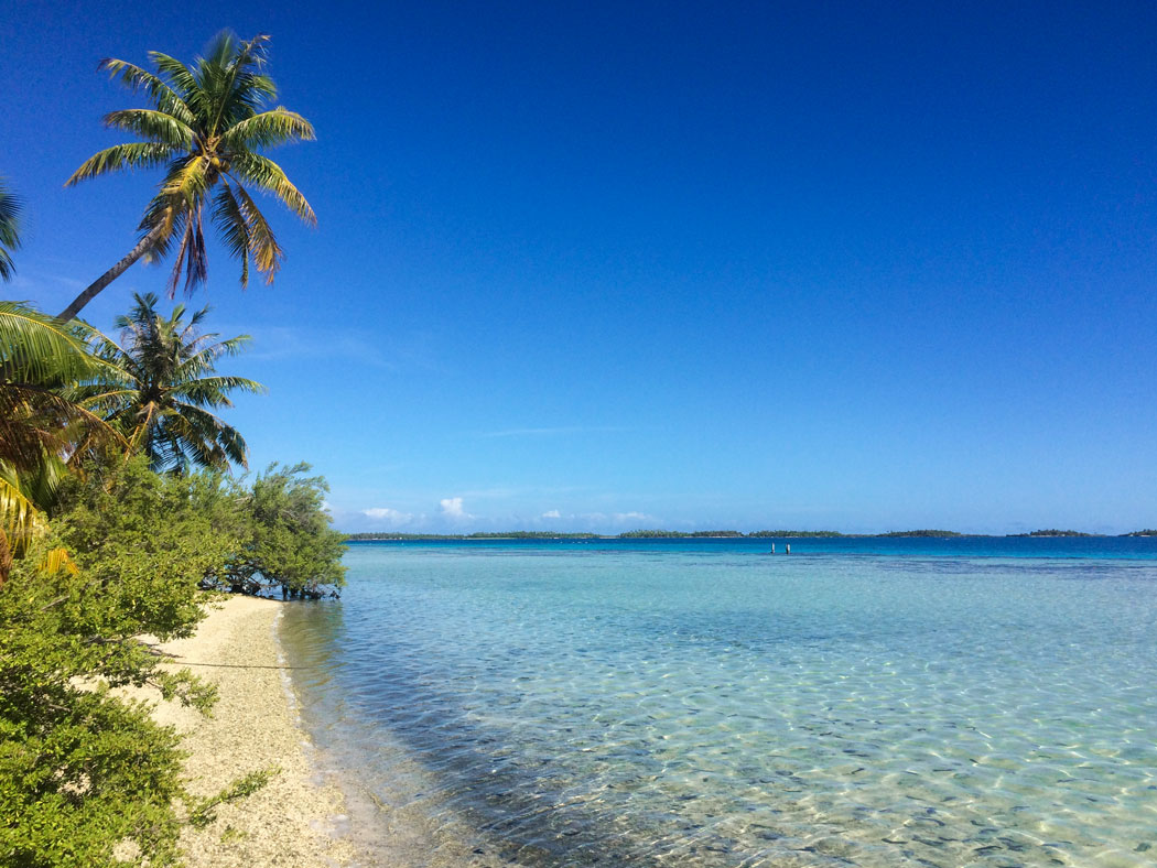 Playa con mar cristalino en Tuamotu
